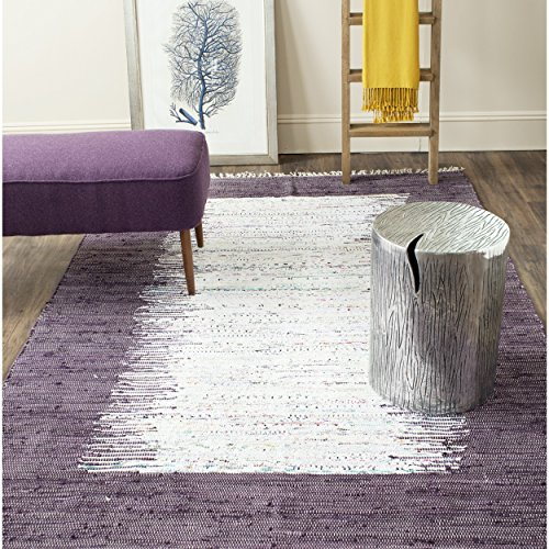 Safavieh Montauk Collection MTK711M Handmade Flatweave Ivory and Purple Cotton Area Rug (8' x 10') (Purple Area Rugs 8x10)