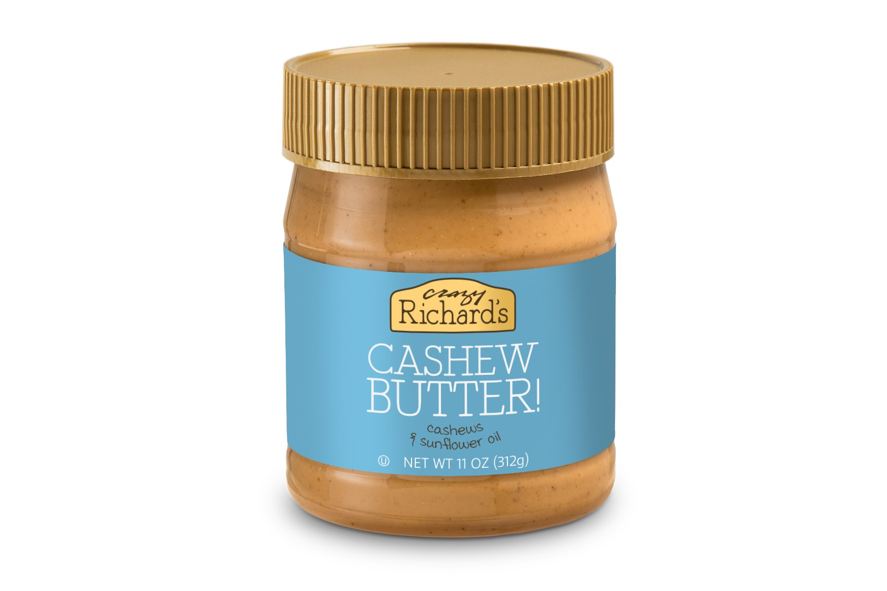 Crazy Richard's Cashew Butter, 100% Natural, Non-GMO, Gluten-Free, Vegan, 11 Ounce Jar