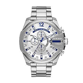 8dc9856da Diesel Men's Mega Chief Quartz Watch with Stainless-Steel Strap, Silver, 12  (
