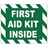 "FIRST AID KIT INSIDE sign sticker decal 5"" x 4"""