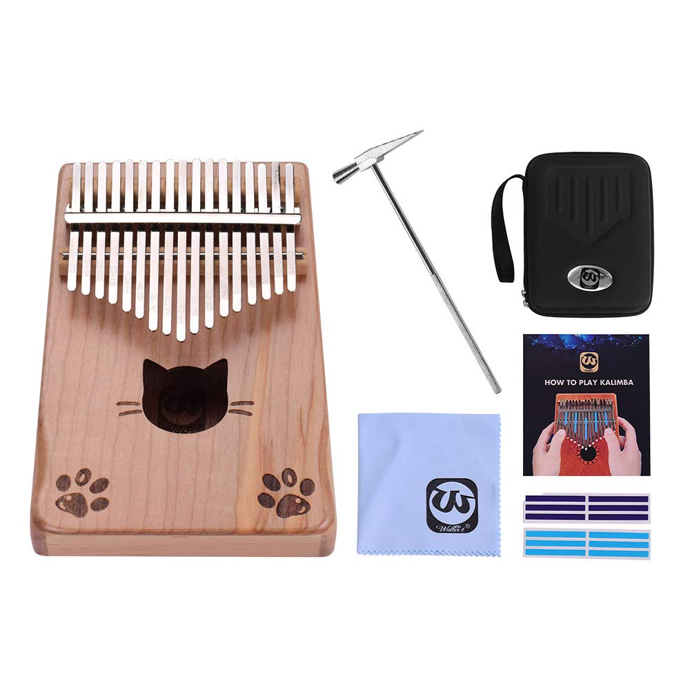 17-key Thumb Piano,Kalimba, Mbira,Maple Wood with Carry Bag Tuning Hammer Cleaning Cloth Stickers Musical Gift Walter.t WK-17MS by Muslady