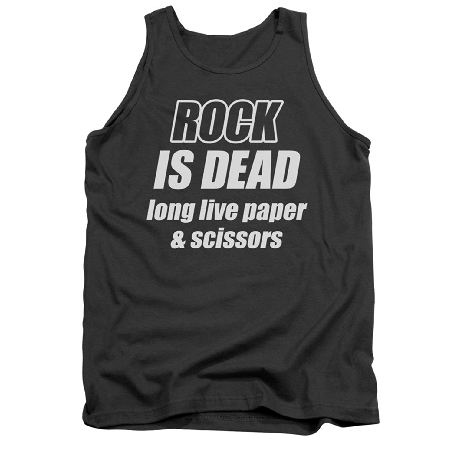 Rock Is Dead Long Live Paper And Scissors Funny Funny Saying Adult Tank Shirt