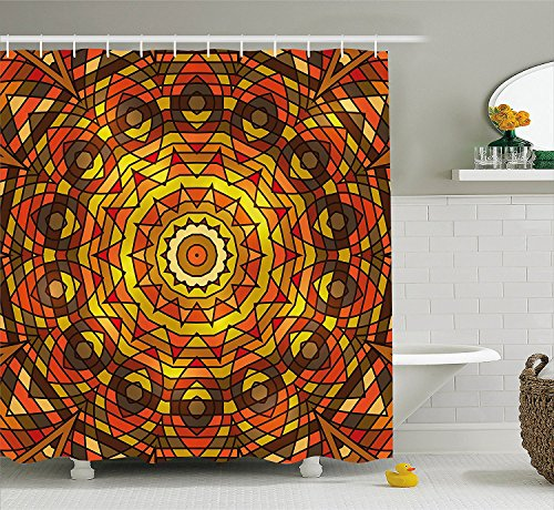 [Celtic Decor Shower Curtain Set Circular Round Celtic Motif With Spiral Turning Lines In Contrast Colors Victorian Decor Bathroom Accessories Red] (Vintage Pin Up Girl Costume Ideas)