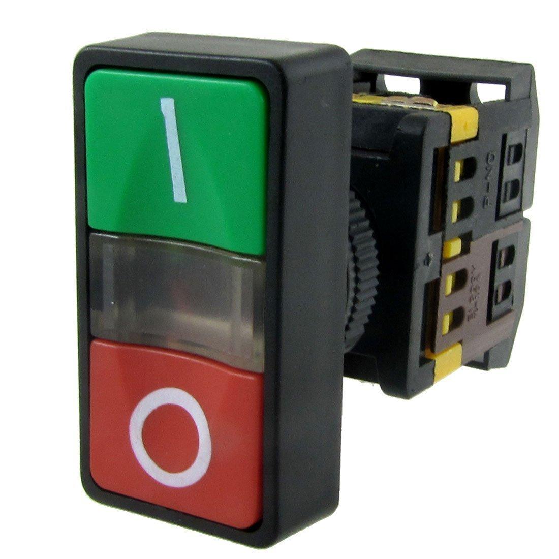 TOOGOO(R) AC 220V Luz amarilla ENCENDIDO APAGADO COMIENZO PARADA Interruptor de boton pulsador momentaneo 1 NO 1 NC SHOMAGT13452