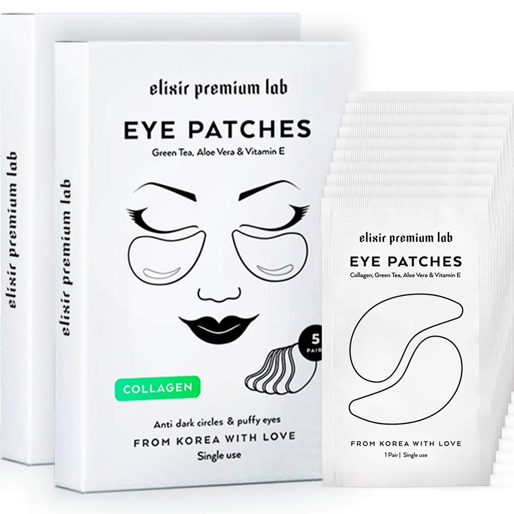 Collagen Eye Patches - Moisturizing Under Eye Pads - Anti Puffines & Dark Circles Spa Treatment - Best Hydrogel Eye Moisturizer for Women & Men - Gel Patch for Dry Skin Under Eye Zone (2 pack)