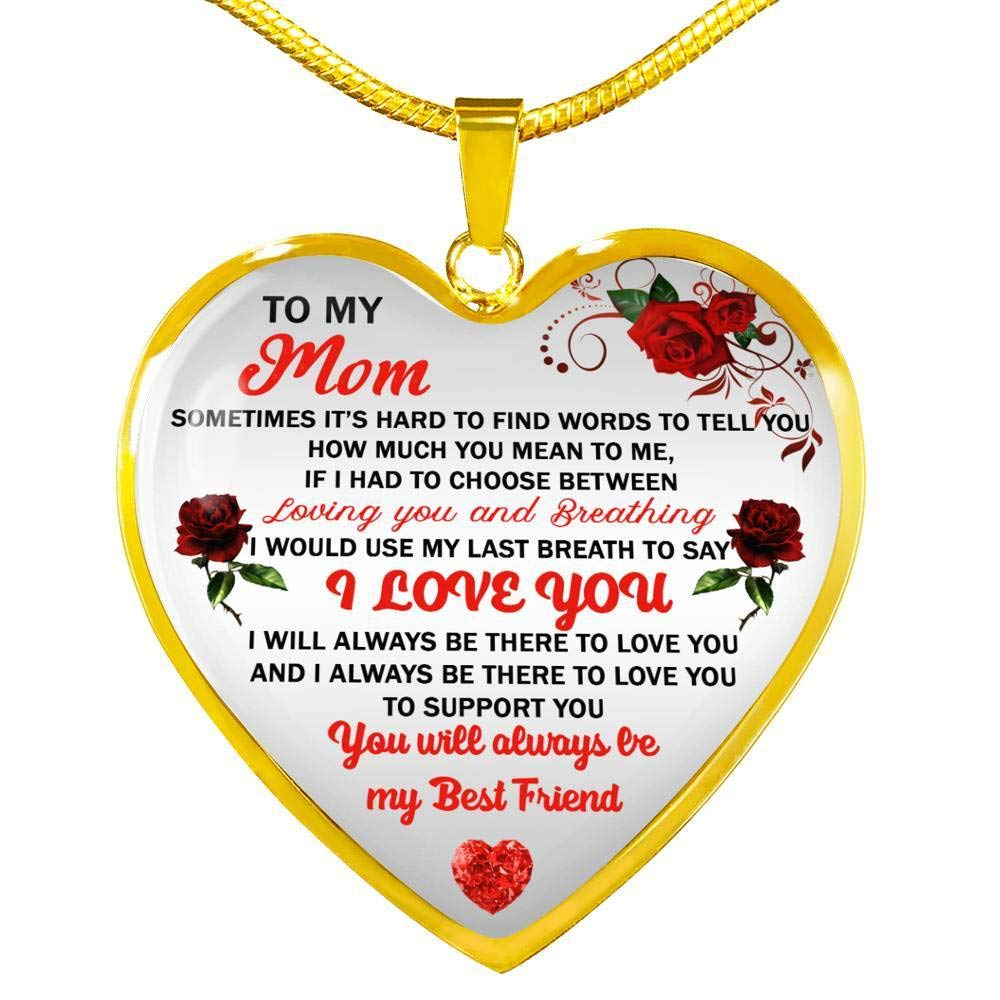 Gold Heart Pendant Chain -Meaningful Gift for Mom from Children On Birthday Silver Novelty Gift for Mom Free Box Awesome Mom Necklace