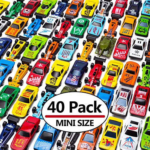 MAPIXO 40 PC Mini Race Car Toy Die Cast Plastic, Model Vehicle Set Gift for Birthday Game Party Favors, Goodie Bag, Stocking Stuffers, Cake Topper, Pinata, Carnival Prize, for Kid Children Boy Girl -