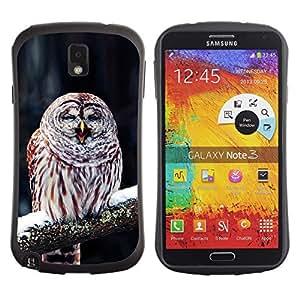 Exotic-Star Hybrid Heavy Duty Shockproof iFace Fundas Cover Cubre Case para Samsung Galaxy Note 3 III / N9000 / N9005 ( Divertido lindo invierno Búho soñoliento )