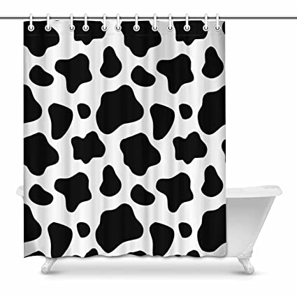 Image Unavailable Not Available For Color INTERESTPRINT Cow Print Bathroom Decor Shower Curtain