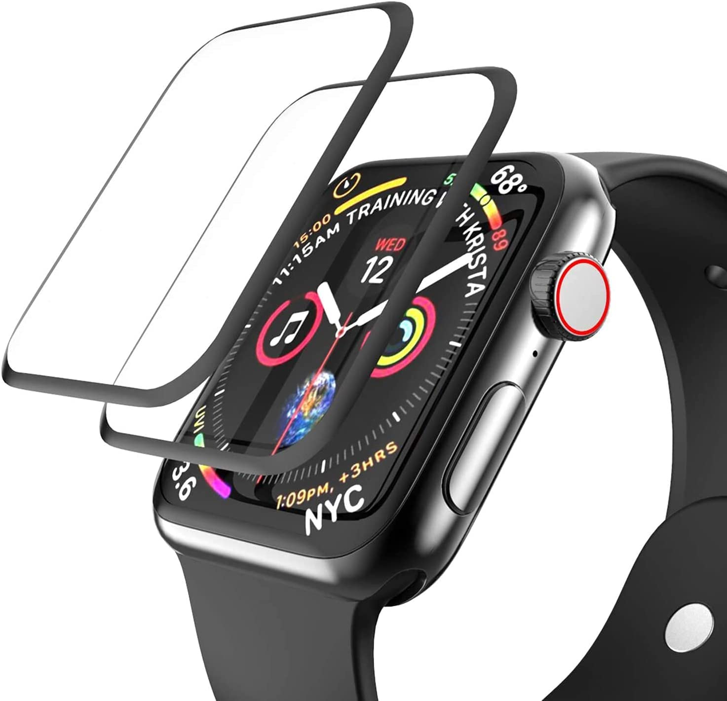 [2 Pack] Tempered Glass Screen Protector Compatible for Apple Watch Series 3/2/1 42mm, EWUONU 3D Full Coverage [Easy Installation Frame] Waterproof Bubble-Free HD Clear Film for iWatch 42mm(42mm)