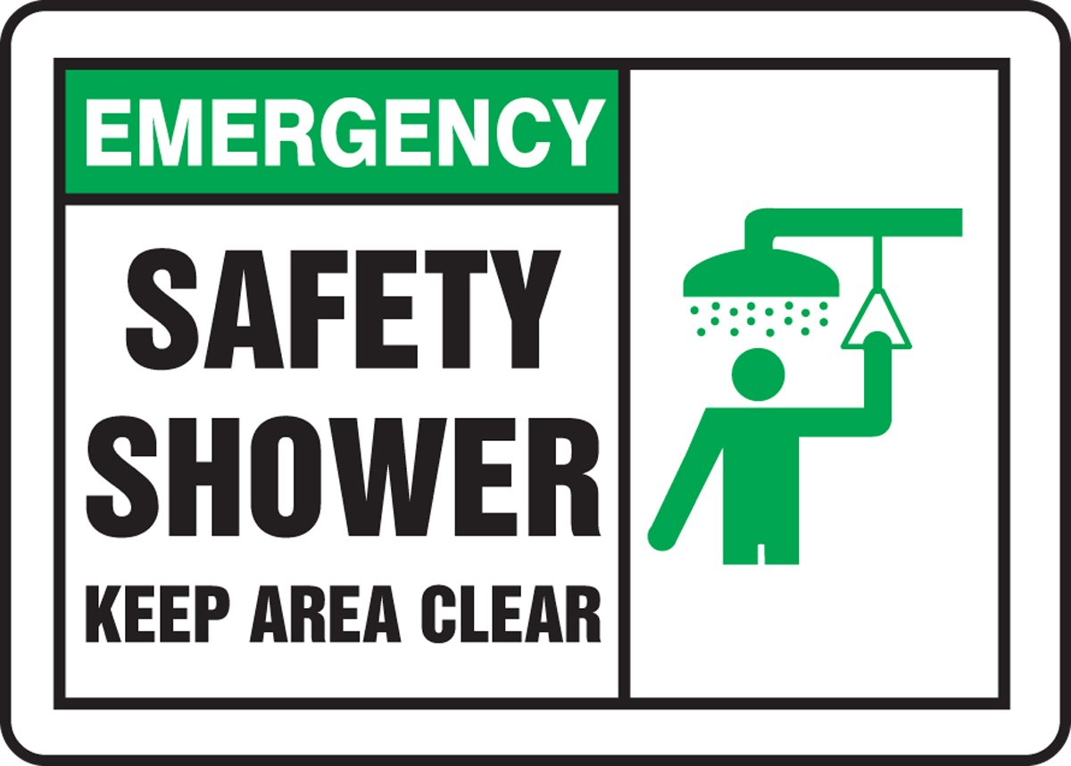 7 Length x 10 Width x 0.060 Thickness Green//Black on White Accuform MFSD931XT Dura-Plastic Sign LegendEMERGENCY SAFETY SHOWER KEEP AREA CLEAR