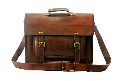 Hlc Real 16 Inch Leather Messenger Genuine Men s Auth Real Leather  Messenger Laptop Briefcase Satchel Mens 0976d71b997bf