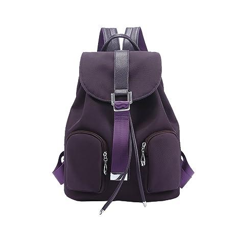 Women s Waterproof Canvas Shoulder Bag Korean Casual Backpack (dark purple) 2aed2309bf4dd