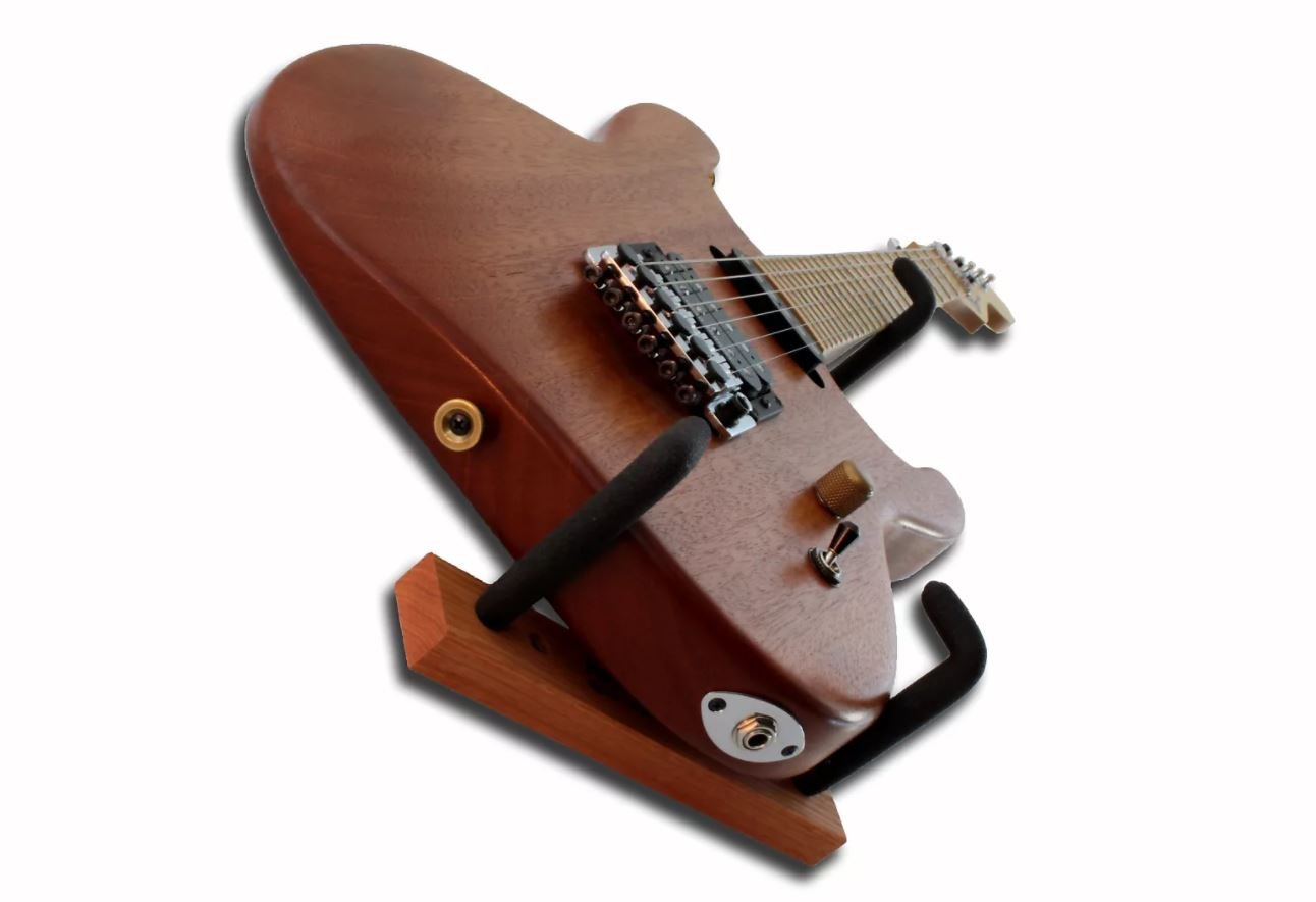Angled Guitar Wall Hanger Display for Electric and Thin Body Guitars- Classic Finish by Hang'em High Guitar Hangers (Image #4)