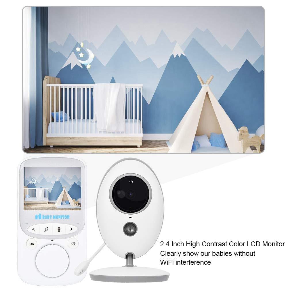 Spina UE 2.4 Pollici Videocamera Wireless Videocamera per Visione Notturna Interfono Babysitter Ninnananne Cam per la Cura del Bambino 24 Ore BTIHCEUOT Baby Monitor