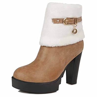 Women's Soft Material Closed Round Toe Solid Low Top High Heels Boots