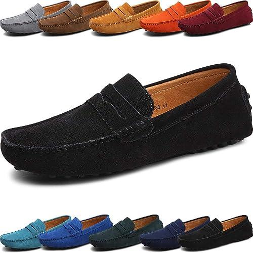 9d70e7ec Mocasines de piel auténtica de ante para hombre - Clásico sin cordones -  Cómodos zapatos de