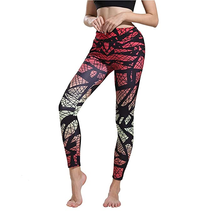 Amazon.com: High Waist Yoga Legging Printed Extra Long Women ...