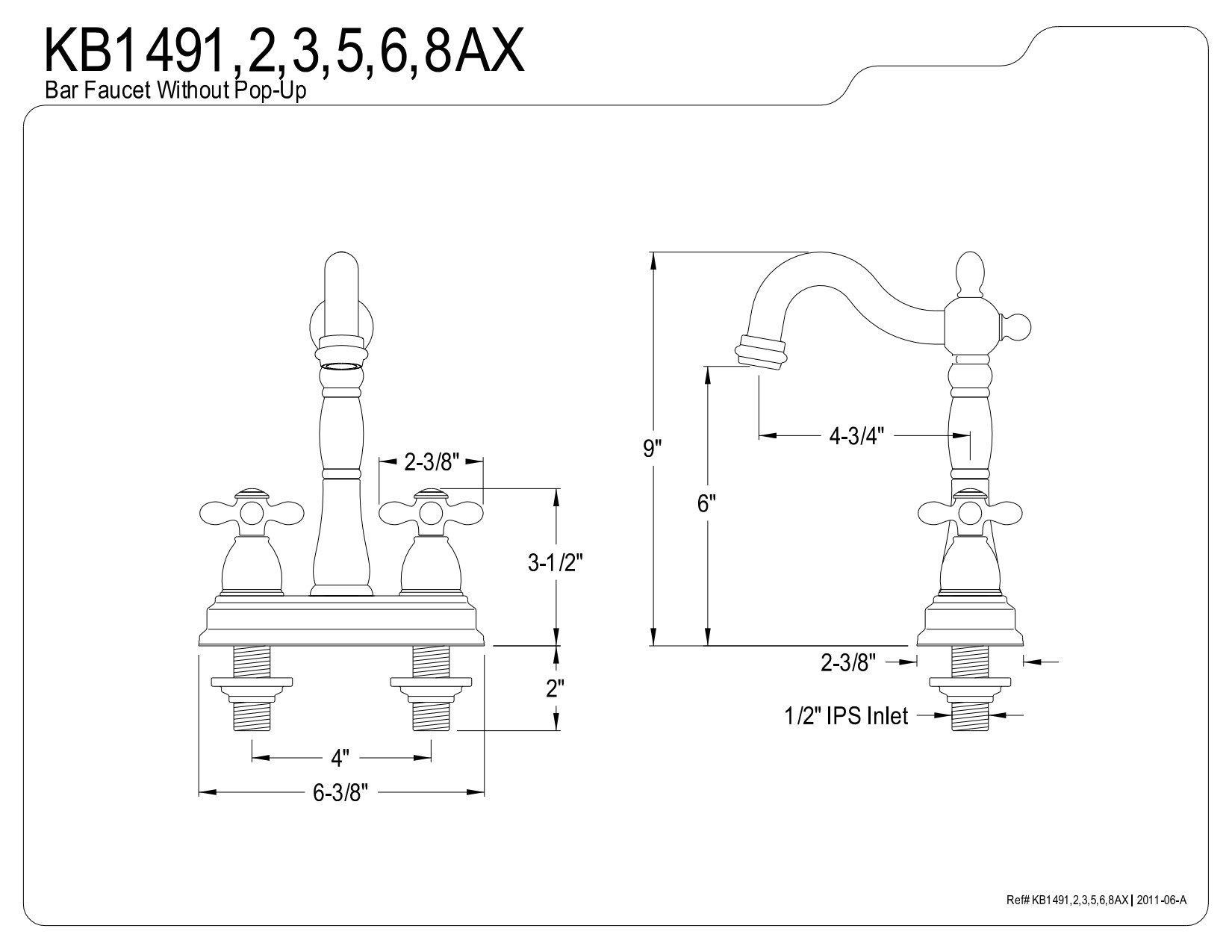 Kingston Brass KB1492AX 4'' bar Faucet Without Pop-Up Rod, Polished Brass by Kingston Brass