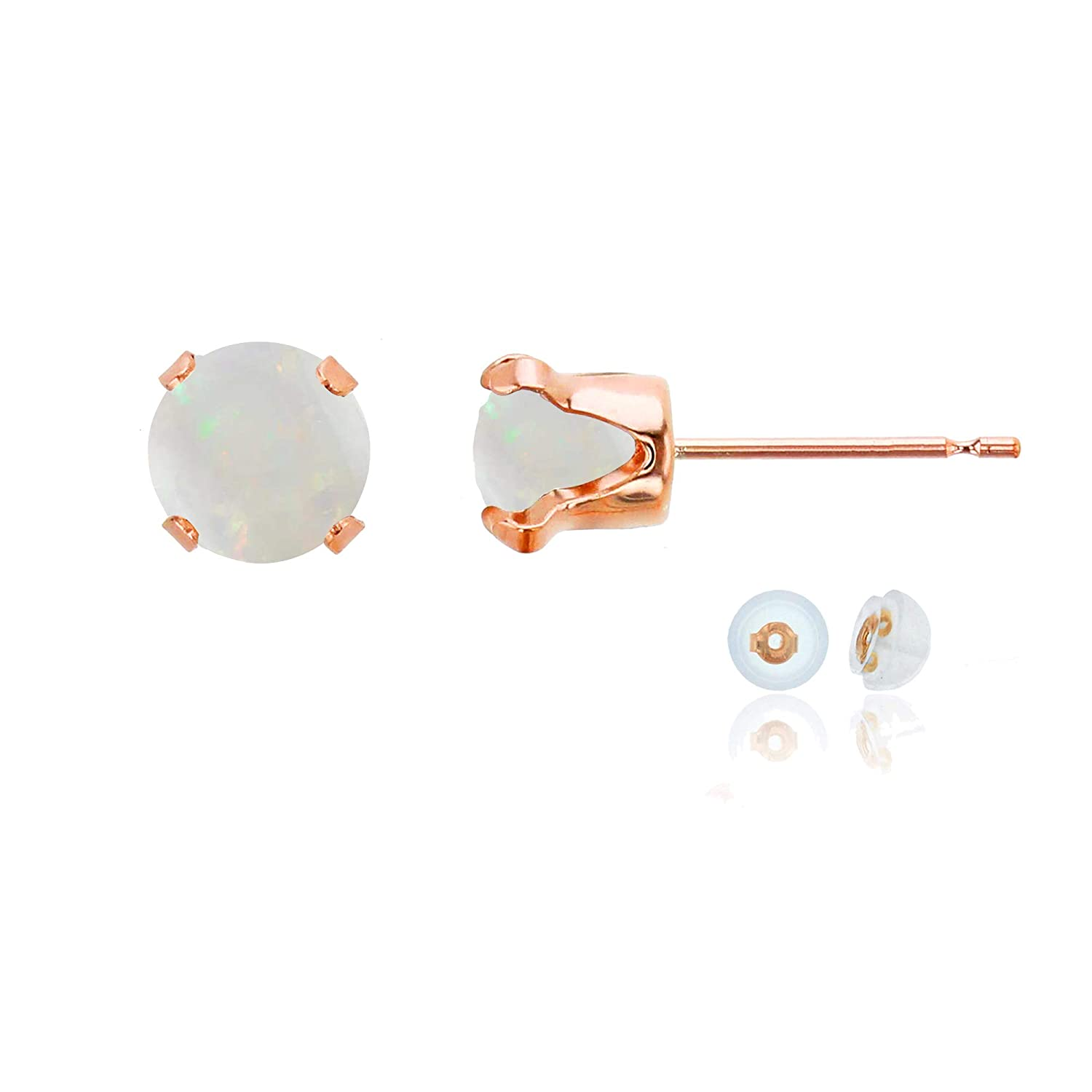 10K Rose Gold 6mm Round Gemstone Stud Earring with Silicone Back Decadence
