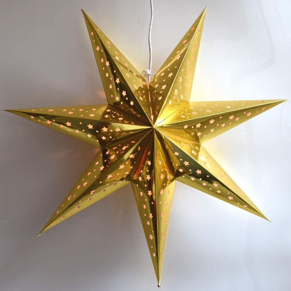 Paper Star Lantern Decoration (Galaxy Gold 7-Point Shining Star) - Perfect for Weddings, Christmas Holiday, Birthday Party Celebration & Home Decor