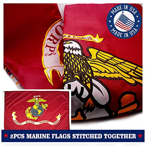 VSVO US Marine Corps USMC Flag 3x5ft. with 2-Sided Embroidered for Outside- Double Sewn Stripes and Brass Grommets, UV Protected, Long Lasting Nylon U.S. Military Flag.