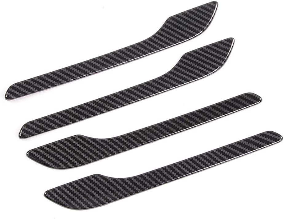 Anti-Scratch Exterior Handle Cover Trim Protector Sticker Decal Carbon Fiber Door Handle Wrap for Tesla Model 3 A Set of 4 Pieces
