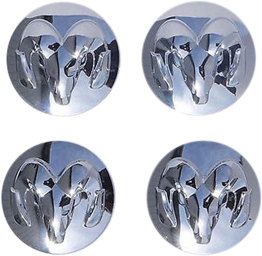 Set of 4 Genuine Mopar 2013-2014 Dodge Ram 1500 Chrome Alloy Wheel Center Cap with Ram Head Logo by Mopar