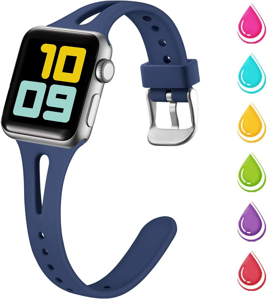 Nofeda Slim Band Compatible with Apple Watch 40mm 38mm, Soft Silicone Breathable Narrow Thin Sport Bands Replacement for iWatch Series 5 4 3 2 1, Sport Edition Women Men, S/M, Navy Blue