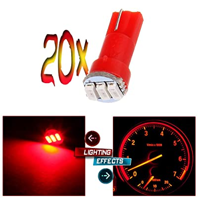 cciyu 20 Pack T5 3-3014SMD Instrument Dashboard Wedge LED Car Light Bulbs Lamp 37 73 Red Fit 1995-1997 1999-2002 Dodge Spirit Viper Stealth B3500 B2500 Ram 3500 Ram 2500 Intrepid Avenger Durango: Automotive