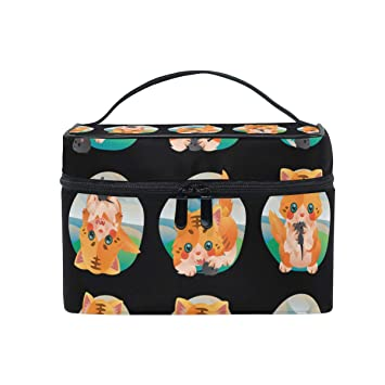 Amazon.com   Makeup Organizer Cat And Toy Mouse Collection Womens Zip  Toiletry Bag Large Case Cosmetic Bags   Beauty 736f13d1d9