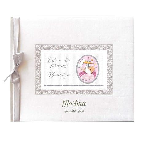 Libro de firmas para Bautizo Personalizado, Grabado en la Portada con Nombre y Fecha (Rosa)
