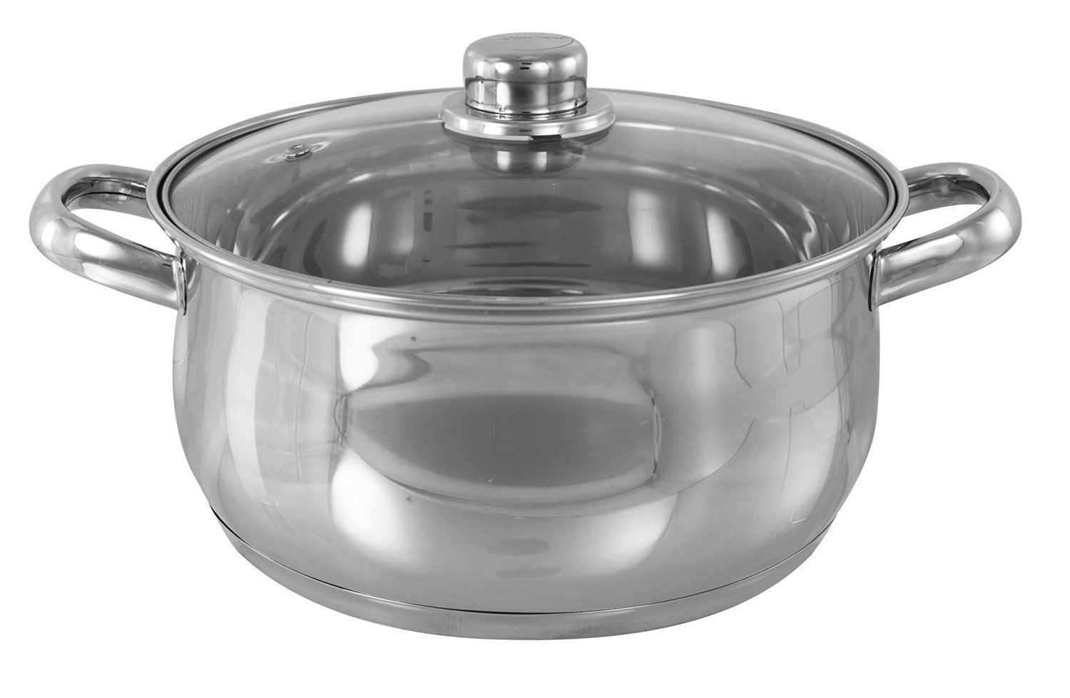 24 Centimetre Premium Quality Stainless Steel Induction Base Deep Casserole Pot with Glass Vented Lid CookSpace