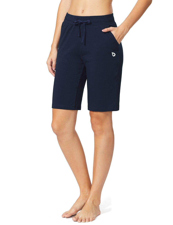 BALEAF Women's Active Yoga Lounge Bermuda Shorts with Pockets Navy Blue Size XS