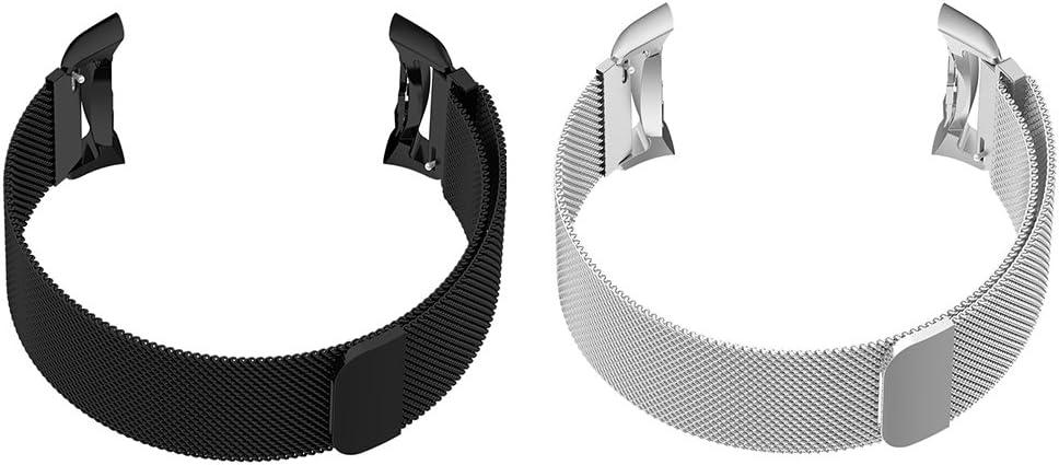 Sharplace 2 Piezas de Banda de Reloj de Acero Inoxidable de Color Negro Gris Cómodo Suave