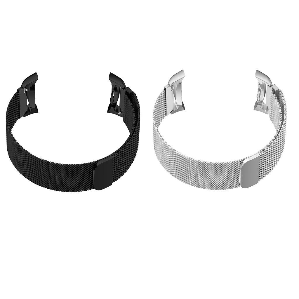 2 Piezas de Banda de Reloj de Acero Inoxidable de Color Negro Gris Cómodo Suave