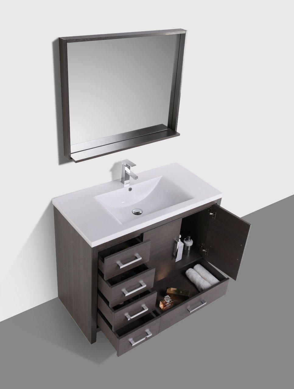 Moreno moa 42 gray oak modern bathroom vanity white - Small bathroom vanity with drawers ...