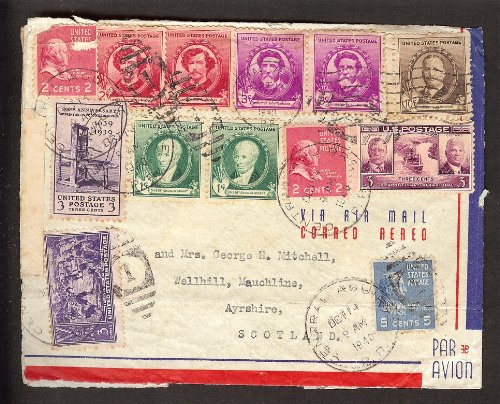 Central Aquire 1940 Via Air Mail Cover Used, Airmail Flight Cover