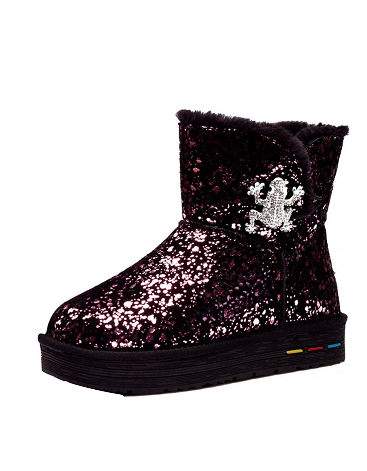 Ashlen Womens Bling Bling Sequin Rhinestone Frog Decor Faux Fur Short Snow  Boot on sale 359a8f62f