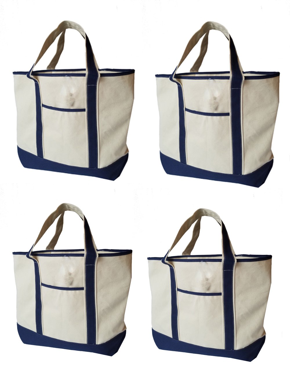 22'' x 16'' Heavy Duty Deluxe Canvas Travel Tote Bag - Cotton, shoulder straps, canvas bags are double-stitched for durability to handle wet towels and beach gear. (PACK OF 4, Navy)