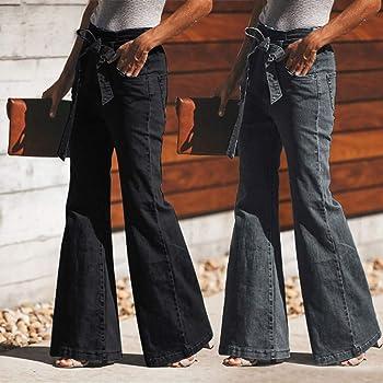 Amazon.com: Pantalones vaqueros clásicos de cintura alta ...