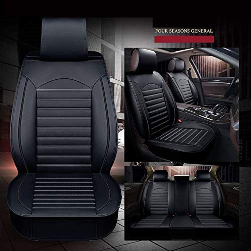 R-10 Leather Car Seat Cover 5 Seats Full Set(Black) Airbag Compatible