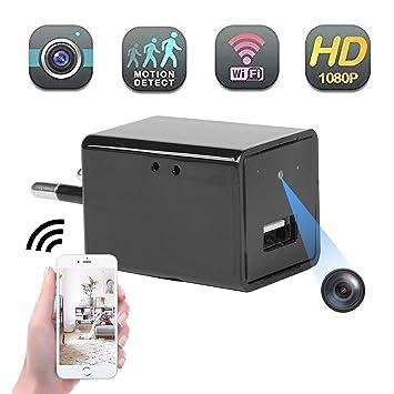 Mini cámara espía oculta Full HD 1080P Cargador USB Cámara wifi ...
