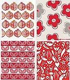 Swedish Dishcloth - (FL) Set of 4 RED Pomegranate & Flowers & Leaves +