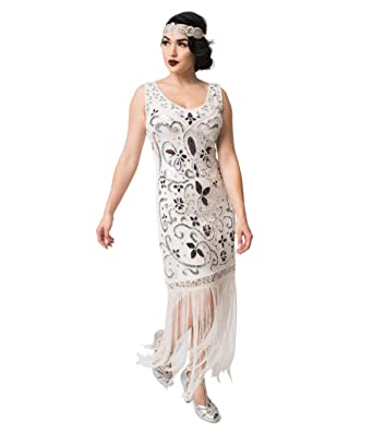 a863175fb353c Unique Vintage White & Silver Sequin St. Michel Fringe Flapper Dress ...