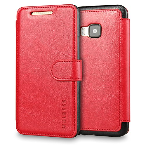 M9 Case,HTC One M9 Case Wallet,Mulbess [Layered Dandy][Vintage Series][Wine Red] - [Ultra Slim][Wallet Case] - Leather Flip Cover with Credit Card Slot for HTC One M9 (Htc One M8 Wallet Case Strap)