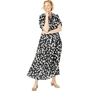 16ad568f48e Woman Within Plus Size Crinkle Shirtdress at Amazon Women s Clothing store