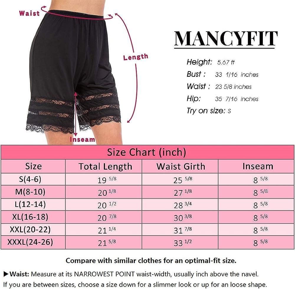 "MANCYFIT Half Slip Shorts Culotte for Women Split Skirt Lace Pettipants Snip 7-9/"" Inseam"