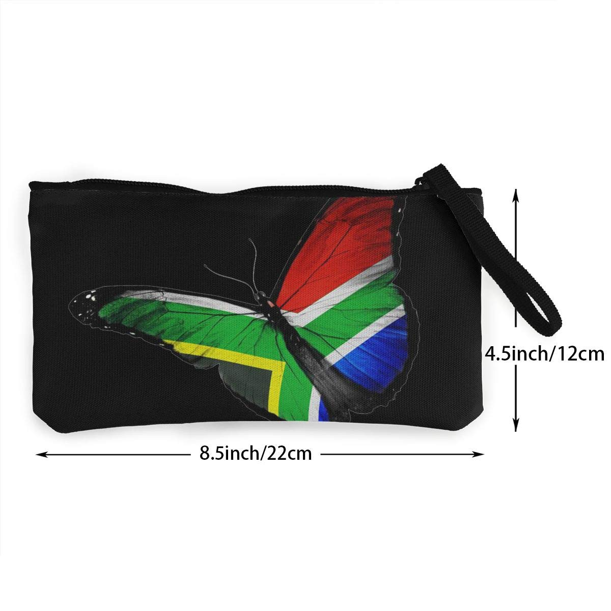 DH14hjsdDEE South African Flag Butterfly Zipper Canvas Coin Purse Wallet Make Up Bag Cellphone Bag With Handle