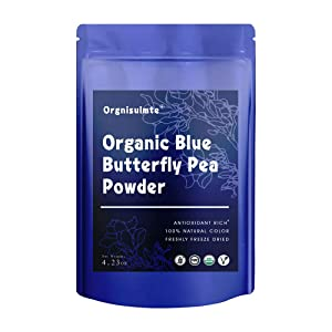 Orgnisulmte Organic Blue Butterfly Pea Flower Powder Natural Food Coloring Premium Blue Matcha Tea Flower Powder Plant Based Non-GMO Gluten Free 4.32Oz(120g)